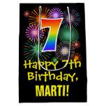 [ Thumbnail: 7th Birthday: Fun Fireworks Pattern + Rainbow 7 Gift Bag ]