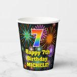 [ Thumbnail: 7th Birthday: Fun Fireworks Pattern + Rainbow 7 Pa ]