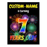 "[ Thumbnail: 7th Birthday - Fun Fireworks, Rainbow Look ""7"" Postcard ]"