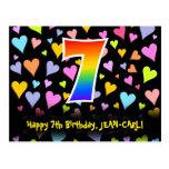 [ Thumbnail: 7th Birthday: Fun Hearts Pattern, Rainbow 7 Postcard ]