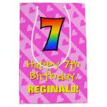 [ Thumbnail: 7th Birthday: Fun Pink Hearts Stripes & Rainbow 7 Gift Bag ]
