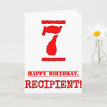 [ Thumbnail: 7th Birthday: Fun, Red Rubber Stamp Inspired Look Card ]