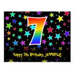 [ Thumbnail: 7th Birthday: Fun Stars Pattern, Rainbow 7, Name Postcard ]