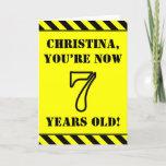 [ Thumbnail: 7th Birthday: Fun Stencil Style Text, Custom Name Card ]