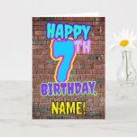 [ Thumbnail: 7th Birthday - Fun, Urban Graffiti Inspired Look Card ]