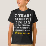 "7th Birthday Gift Months 7 Yrs Old Being Awesome T-Shirt<br><div class=""desc"">BIRTHDAY TEES 7th Birthday Gift Tshirt 84 Months 7 Years Old Being Awesome If your son or daughter is having a birthday party 2012 your going to want them to represent how long they have been awesome with this cool t-shirt Great to get as a gift idea for someone is...</div>"