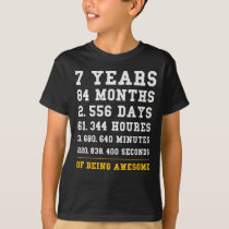 7th Birthday Gift Months 7 Yrs Old Being Awesome T-Shirt
