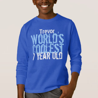7th Birthday Gift World's Coolest 7 Year Old Blue T-Shirt
