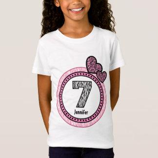 7th Birthday Gift Zebra Polka Dot Pattern V03C T-Shirt