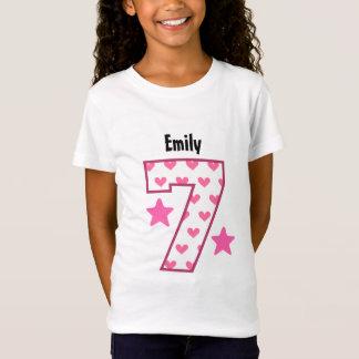 7th Birthday Girl HEARTS Seven Year Custom V07D T-Shirt