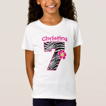 7th Birthday Girl Hot Pink & Black Zebra Pattern T-Shirt