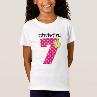 7th Birthday Girl Hot Pink & Green Dots T-Shirt