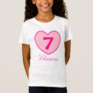 7th Birthday Girl Pink heart & Dots Personalized T-Shirt