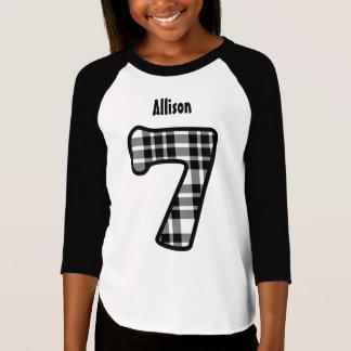 7th Birthday Girl PLAID Seven Year Custom V01 T-Shirt