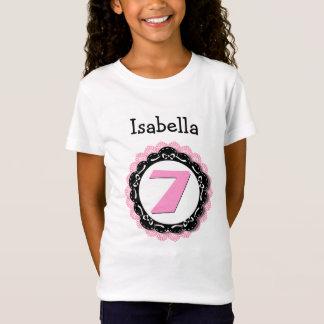 7th Birthday Girl Seven Year Big Number Name V59A T-Shirt