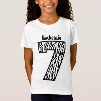 7th Birthday Girl Zebra Seve Year Custom V07G T-Shirt