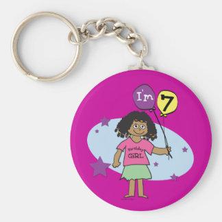 7th Birthday Girls Basic Round Button Keychain