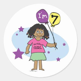 7th Birthday Girls Round Stickers