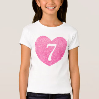 7th Birthday Glitter Pink heart Personalized T-Shirt