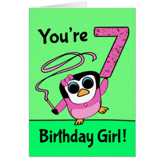 7th Birthday - Gymnast Penguin Card