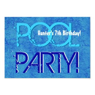 7th Birthday Kid's Pool Party Blue White V07 Card