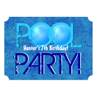 7th Birthday Kid's Pool Party Blue White V07A Card
