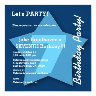"7th Birthday KIDS Seven Year Old Big Blue Star K07 5.25"" Square Invitation Card"