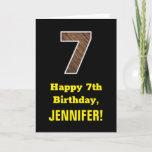 "[ Thumbnail: 7th Birthday: Name, Faux Wood Grain Pattern ""7"" Card ]"
