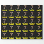 """[ Thumbnail: 7th Birthday: Name & Faux Wood Grain Pattern """"7"""" Wrapping Paper ]"""