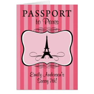 7th Birthday Paris Passport Stationery Note Card