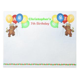 7th Birthday Party Bear Games Notepad