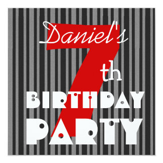 7th Birthday Party Kid's Modern Big Number 5.25x5.25 Square Paper Invitation Card