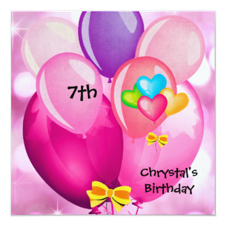 """7th Birthday Party Pink Yellow Blue Balloons Girl 5.25"""" Square Invitation Card"""