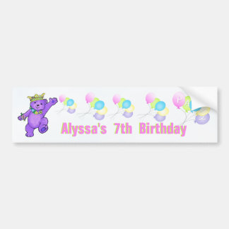 7th Birthday Party Purple Princess Bear Bumper Sticker