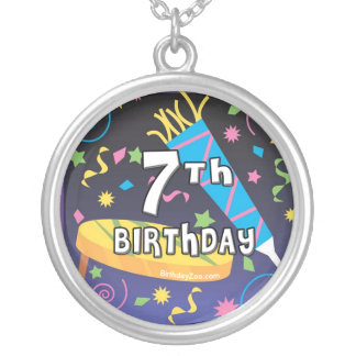 7th Birthday Party Round Pendant Necklace