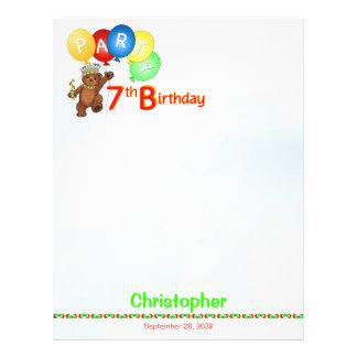 "7th Birthday Party Royal Bear Scrapbook  Paper 1 8.5"" X 11"" Flyer"