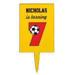 7th Birthday Party Soccer in Red Rectangular Cake Toppers