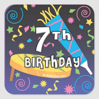7th Birthday Party Stickers
