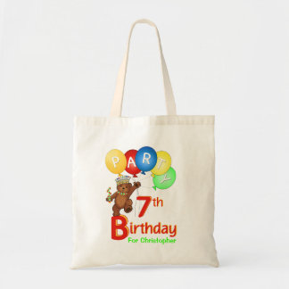 7th Birthday Party Teddy Bear Prince Goodie Tote Bag