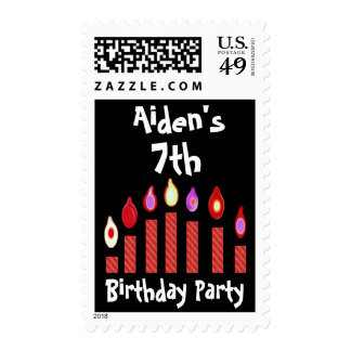 7th Birthday Party with Oodles of Red Candles Postage Stamp