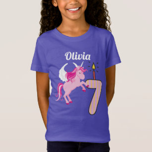 7th Birthday Personalized Name Unicorn Shirt