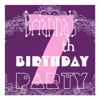 7th Birthday Pink and Purple Big Number for Girl 5.25x5.25 Square Paper Invitation Card