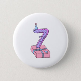 7th Birthday Pink and Purple Cartoon. Button