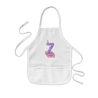7th Birthday Pink and Purple Cartoon. Kids' Apron