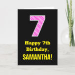 "[ Thumbnail: 7th Birthday: Pink Stripes and Hearts ""7"" + Name Card ]"