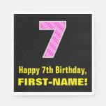 "[ Thumbnail: 7th Birthday: Pink Stripes and Hearts ""7"" + Name Napkins ]"