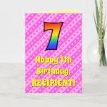 [ Thumbnail: 7th Birthday: Pink Stripes & Hearts, Rainbow # 7 Card ]