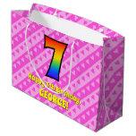 [ Thumbnail: 7th Birthday: Pink Stripes & Hearts, Rainbow # 7 Gift Bag ]