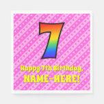 [ Thumbnail: 7th Birthday: Pink Stripes & Hearts, Rainbow # 7 Napkins ]