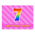 [ Thumbnail: 7th Birthday: Pink Stripes & Hearts, Rainbow 7 Postcard ]